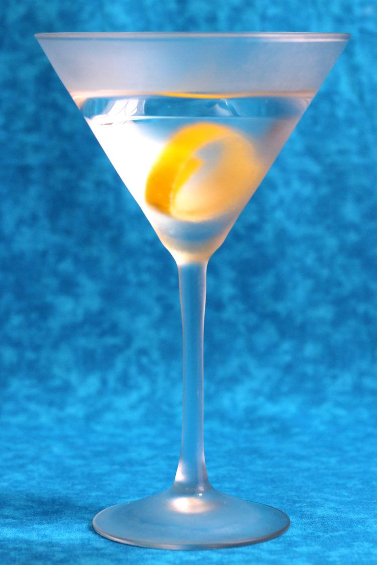 Clear gin martini in frosted glass
