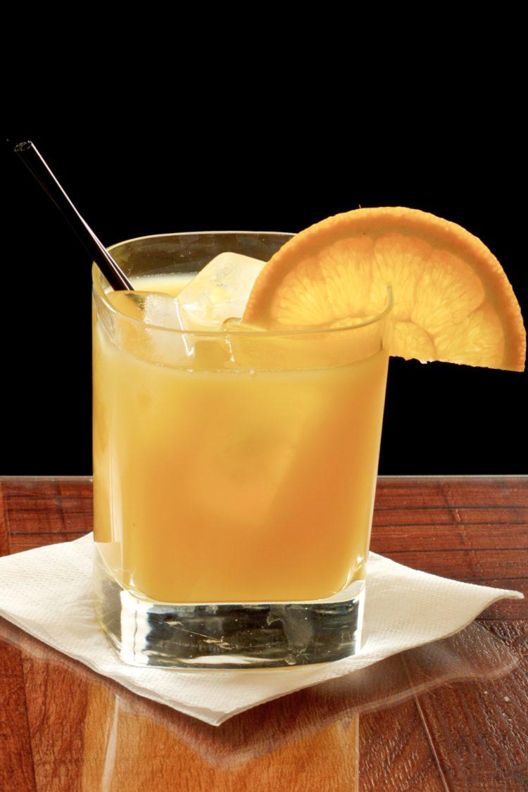 Screwdriver cocktail with orange slice