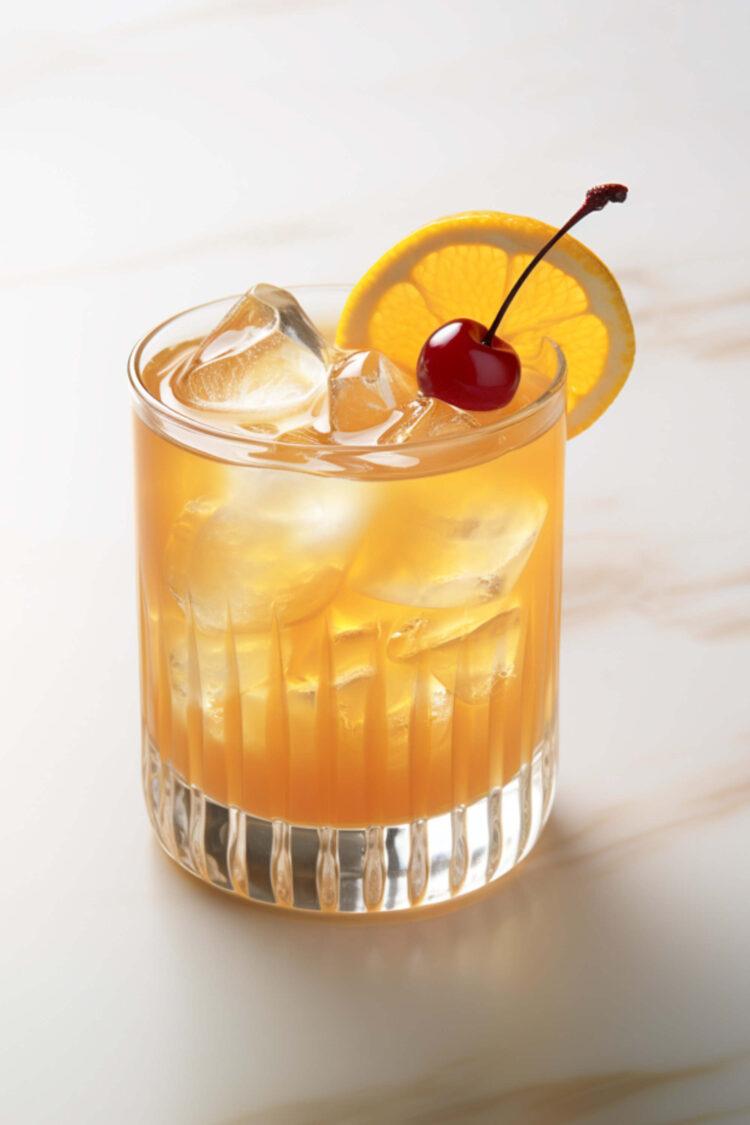 Amaretto Sour cocktail with lemon twist