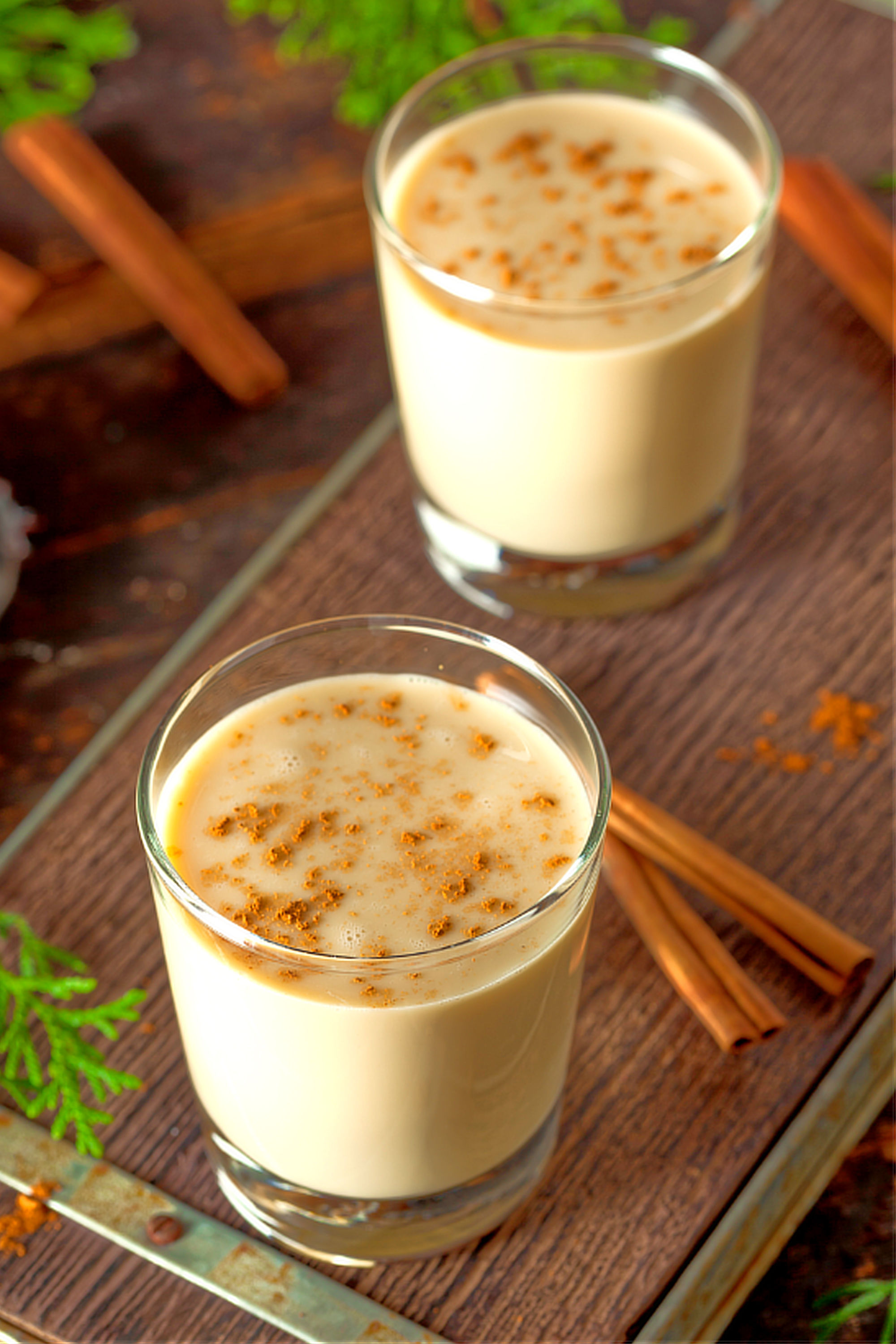 Eggnog has been around for a very long time, in both its alcohol and non-alcoholic forms. Featuring brandy, rum, lots of egg, and spices, this recipe is sure to warm you up and fill you up during the holiday season.