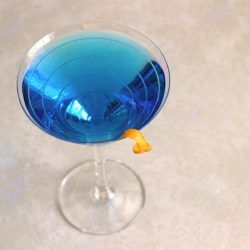 Blue Monday drink recipe with blue curacao, vodka and Cointreau.