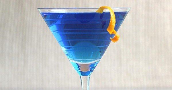 Blue Monday drink with orange twist