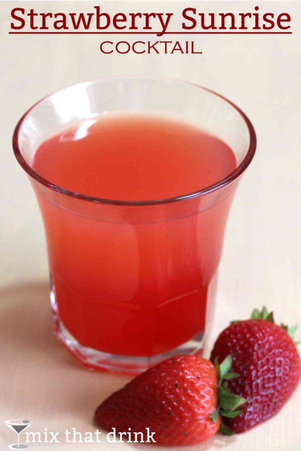 The Strawberry Sunrise cocktail recipe is practically dessert. It's sweet, fruity, and berry-orange flavored, featuring creme de fraises, orange juice and grenadine. Click through for the complete recipe.