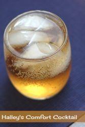Halley's Comfort drink in rocks glass
