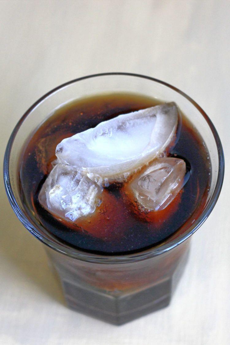 Overhead angle on Jack and Coke drink over ice