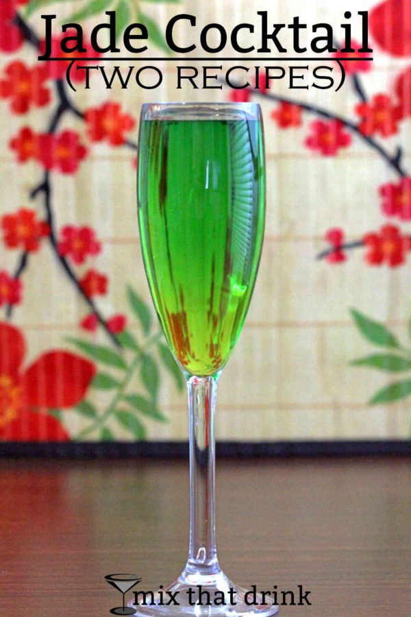 There are a few cocktails called the Jade cocktail, and they're very different. Here are two versions, one featuring rum, crème de menthe and Cointreau, and another featuring Midori and champagne.