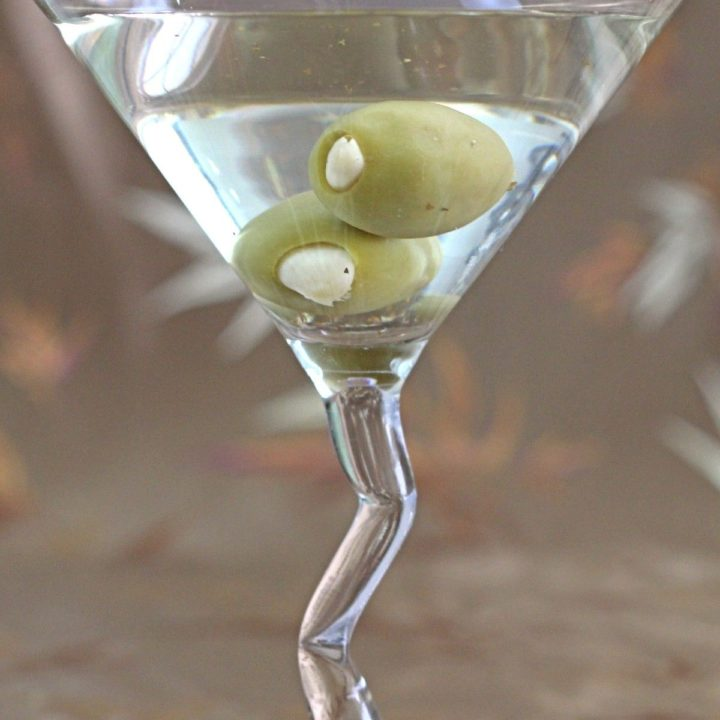 Garlic Martini with two olives