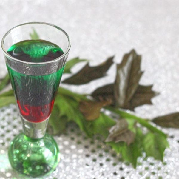 The Santa Shot is a gorgeous little red and green layered shot that tastes like a candy cane. It's Christmas ascetics combined with Christmas flavors, and it packs plenty of Christmas spirit. #mixthatdrink #christmas #christmasdrinks #drinkrecipes