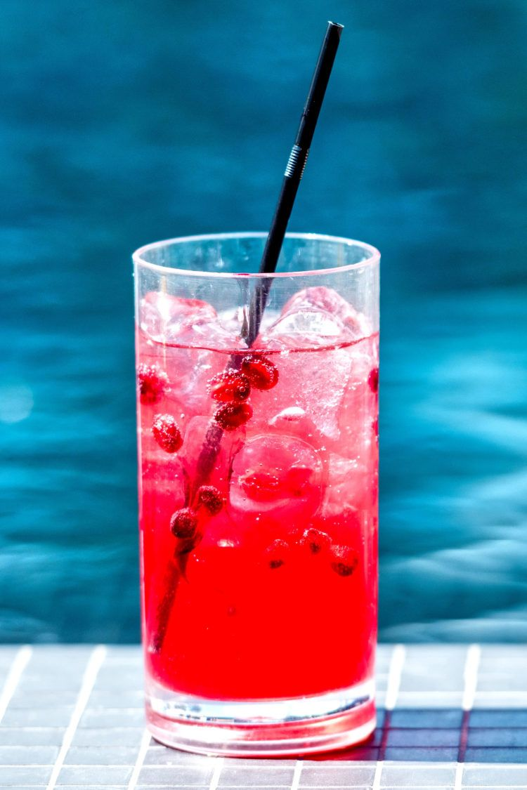 Vodka Cranberry Drink in tall glass without garnish