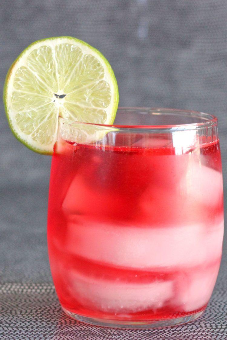 Vodka Cranberry drink with lime garnish