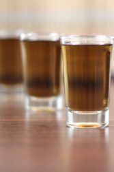 Oil Slick drinks lined up on bar