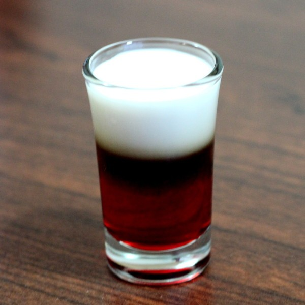 German Cherry Bomb drink recipe: Godiva chocolate liqueur, cream, grenadine