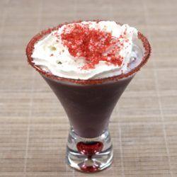 Raspberry Beret drink with red sugar sprinkles