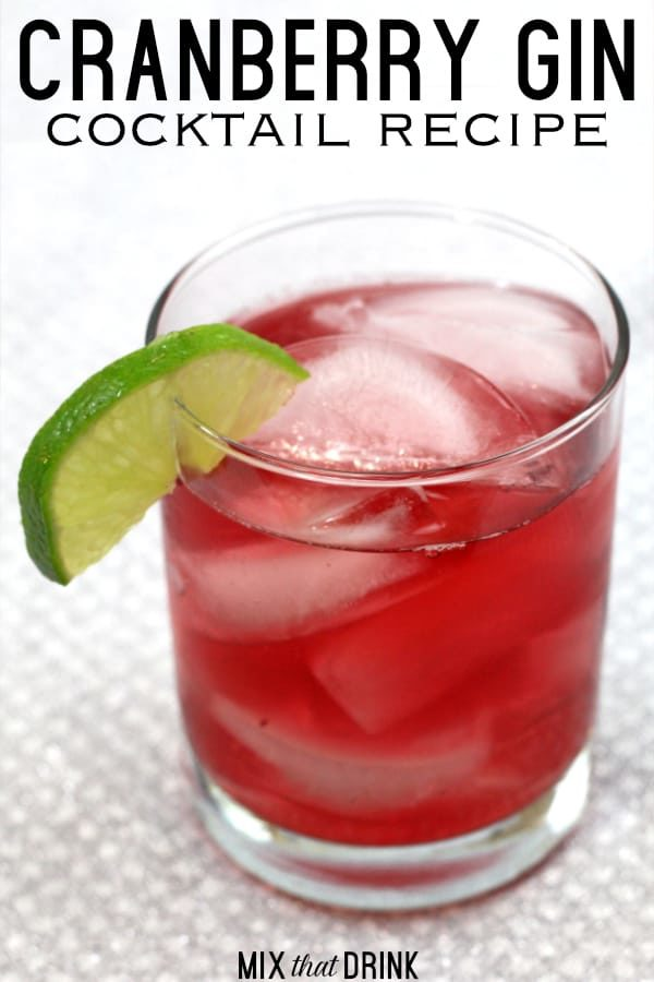 Cranberry Gin cocktail with lime wedge