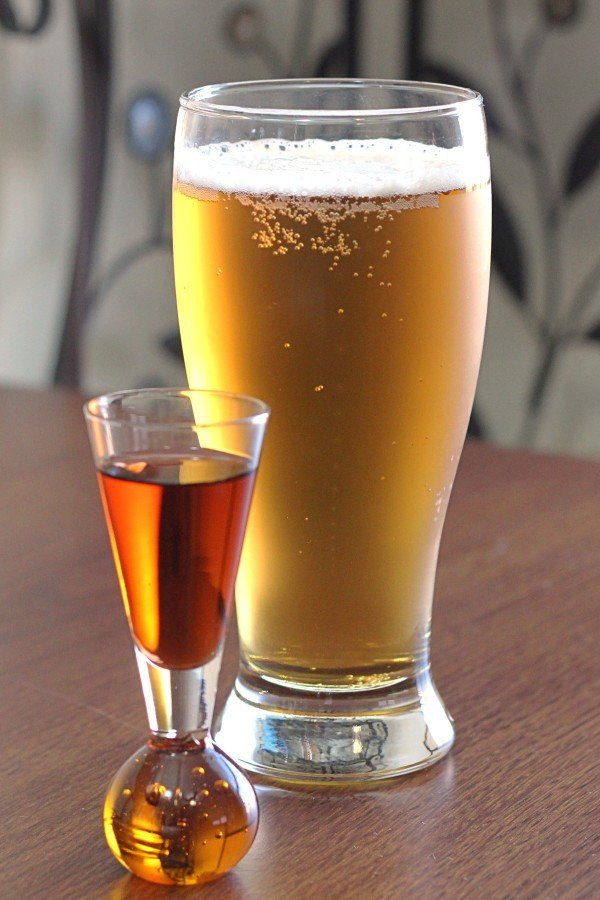 Boilermaker recipe: beer with whiskey, tequila or vodka.