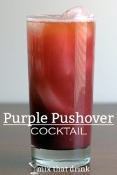 Purple Pushover drink with ice melted by flame