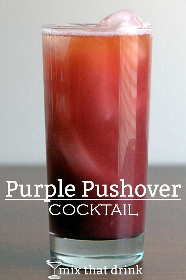The Purple Pushover is a rum-based cocktail, with orange and pineapple juice, and some berry notes from a red raspberry liqueur and grenadine. The taste is fruity and sweet – more mellow than citrus.