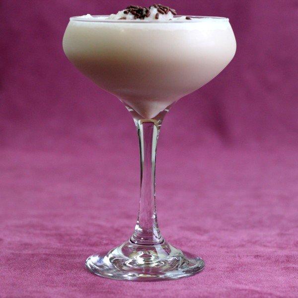 Checkerboard cocktail recipe: Creme de Cacao, Vodka, Amaretto, Chocolate Syrup, Vanilla Ice Cream