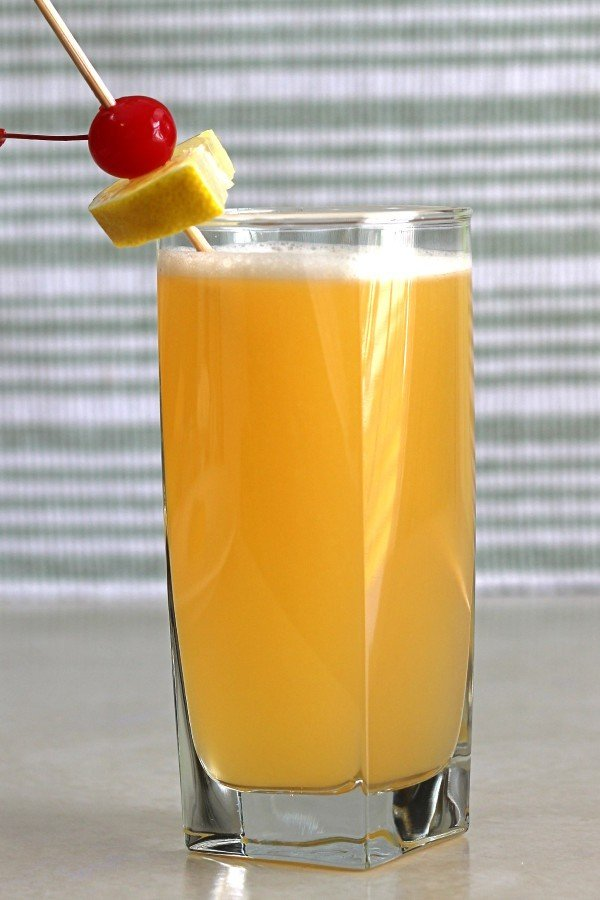 Quantum Theory drink recipe with rum, Strega, Grand Marnier, pineapple juice and sour mix.