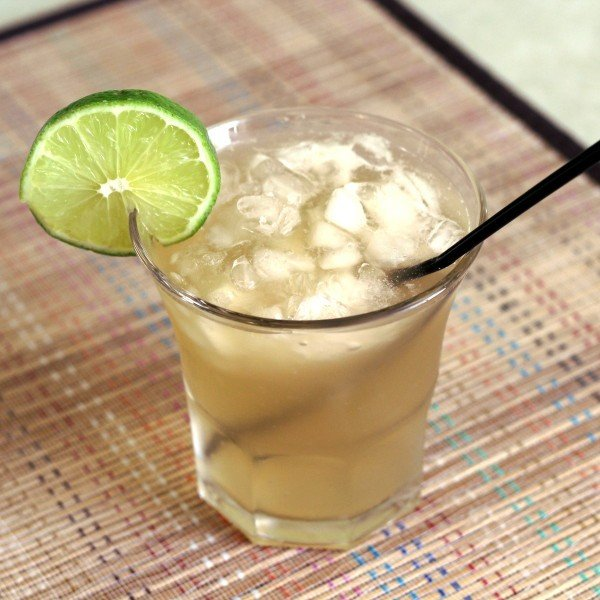 The Venus Rum cocktail with rum, apricot brandy, triple sec, lime and soda.