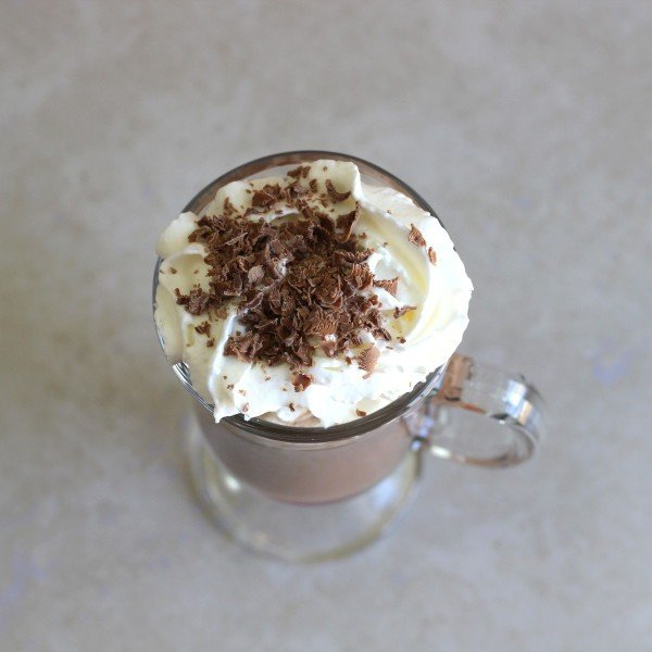 Overhead view of Kahlua Hot Chocolate with whipped cream and chocolate sprinkles