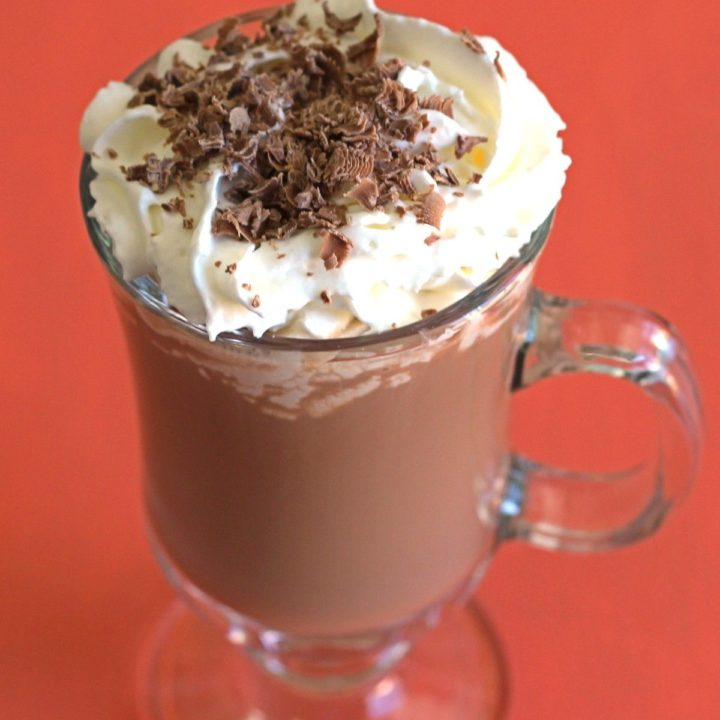 Kahlua Hot Chocolate with whipped cream and chocolate sprinkles