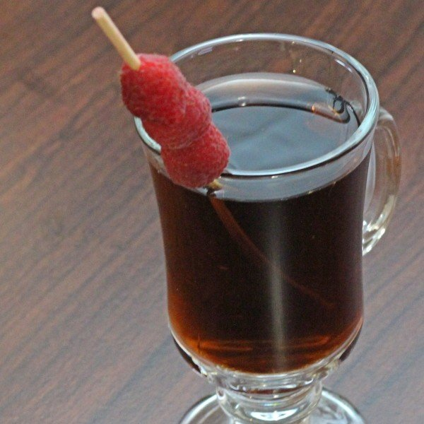Mocha Berry drink recipe with coffee, Chambord and cocoa powder.