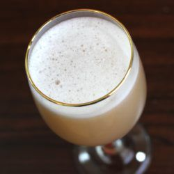 Round Robin cocktail recipe with absinthe, brandy and egg-white.