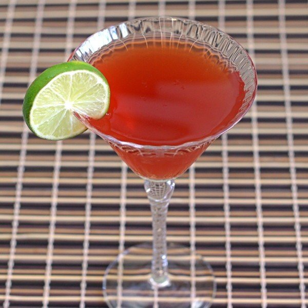 Angled view of Nantucket Cocktail with lime wheel