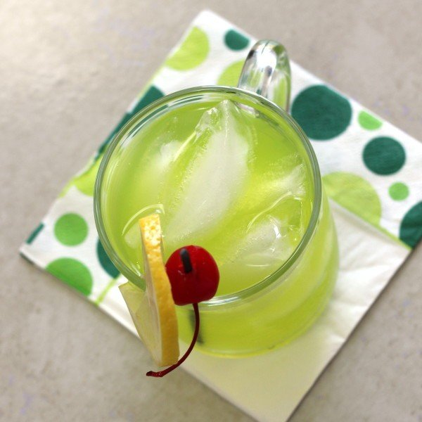Neon Tea cocktail recipe with vanilla vodka, rum, gin, Sour Apple Pucker, triple cec, Midori and sour mix.