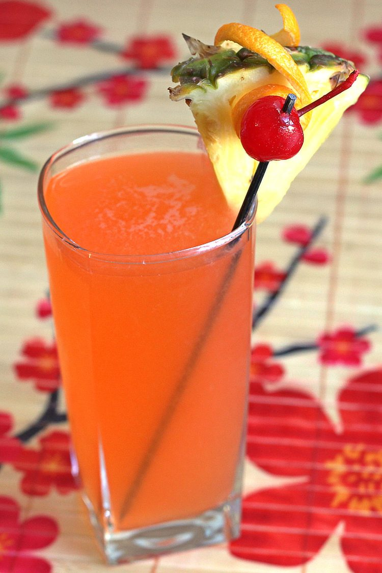 Hawaiian Hammer drink with pineapple and cherry