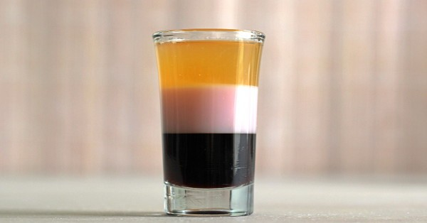 T-52 Shooter layered cocktail in shot glass