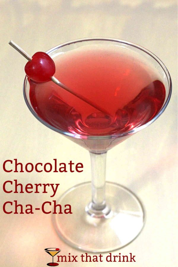 The Chocolate Cherry Cha-Cha drink recipe was the result of an hours' long recipe experimenting session with a friend. When we put coconut rum with chocolate and cherry flavors, we never expected it to taste uncannily like a chocolate covered cherry, but that's what happened.
