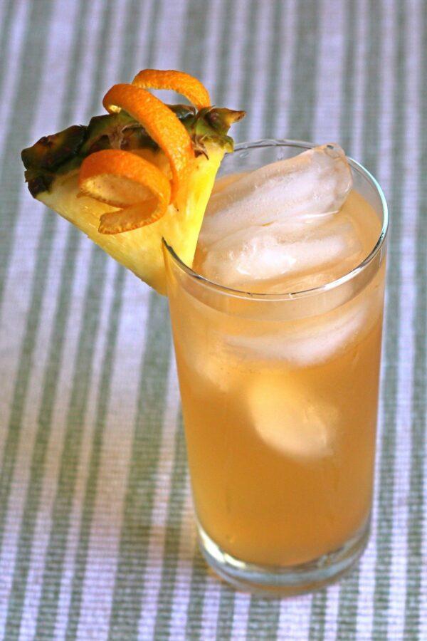 Kali Fury drink recipe with coconut rum, creme de banane, pineapple and orange juice.