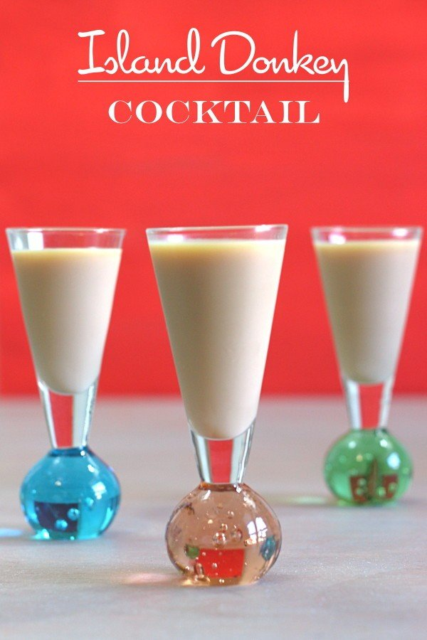 Island Donkey drink recipe with Godiva lieuquer, coconut rum and cinnamon schnapps.
