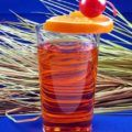 Red translucent cocktail in tall glass with orange slice and cherry, against cut grasses and blue backdrop