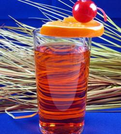Ruby Runner drink recipe - Malibu Rum, Rum, Blackberry Brandy, Orange, Pineapple, Banana Liqueur, Grenadine