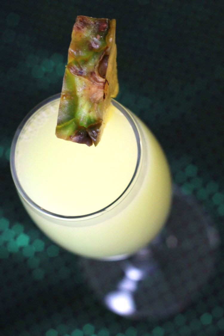 Angled view of Tequila Matador drink with pineapple wedge