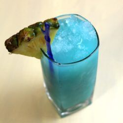 Teal Squeal drink recipe: Vodka, Blue Curacao, Pineapple