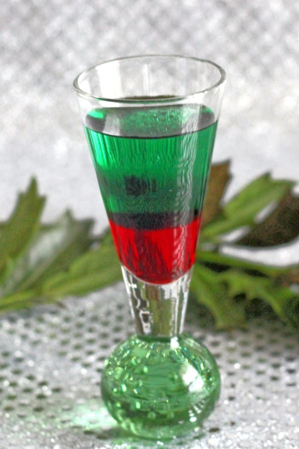 Green and red layered Santa Shot cocktail