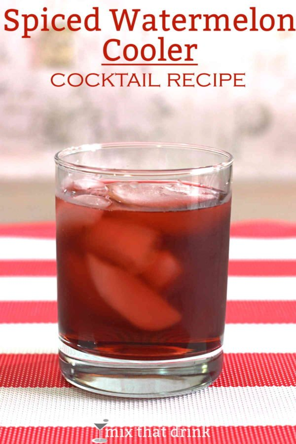 The Spiced Watermelon Cooler drink recipe is based on a cocktail invented before watermelon schnapps. It uses Midori and crème de fraises to get that watermelon fruit flavor, and Captain Morgan's gives it a hint of spice.