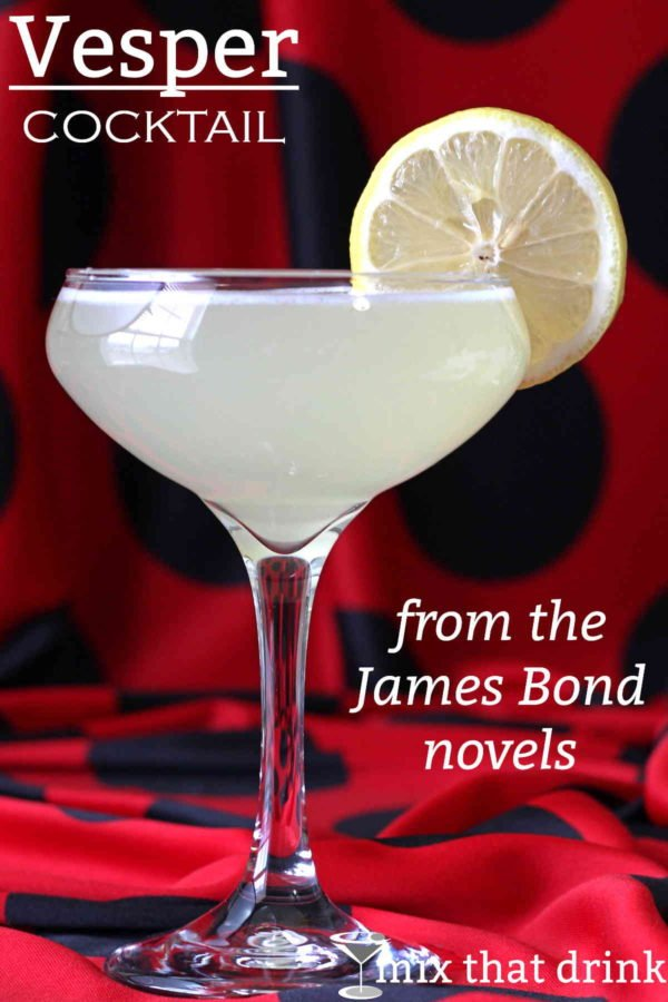 The Vesper cocktail recipe a drink James Bond invents in Casino Royale, named for a lost love. I've suggested some alternatives to the spirits it originally called for, some of which aren't made anymore.