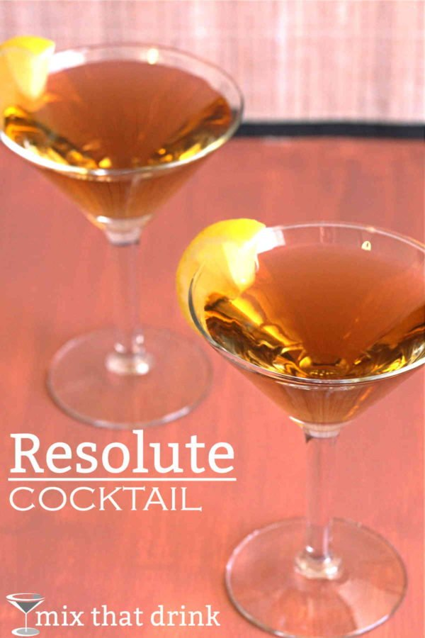 The Resolute cocktail recipe features apricot brandy, gin and lemon juice. This delicious drink is lightly fruity, not too sweet, and nicely strong. It's a nice choice for parties and entertaining.