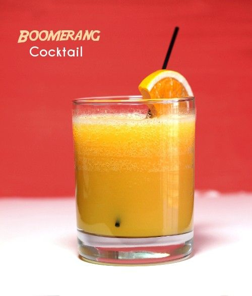 Boomerang drink recipe - Gin, Cognac, Peach Brandy, Orange Juice