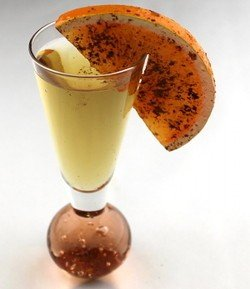 John's Bomb drink recipe - Tequila, Benedictine, Orange Wheel with Cinnamon