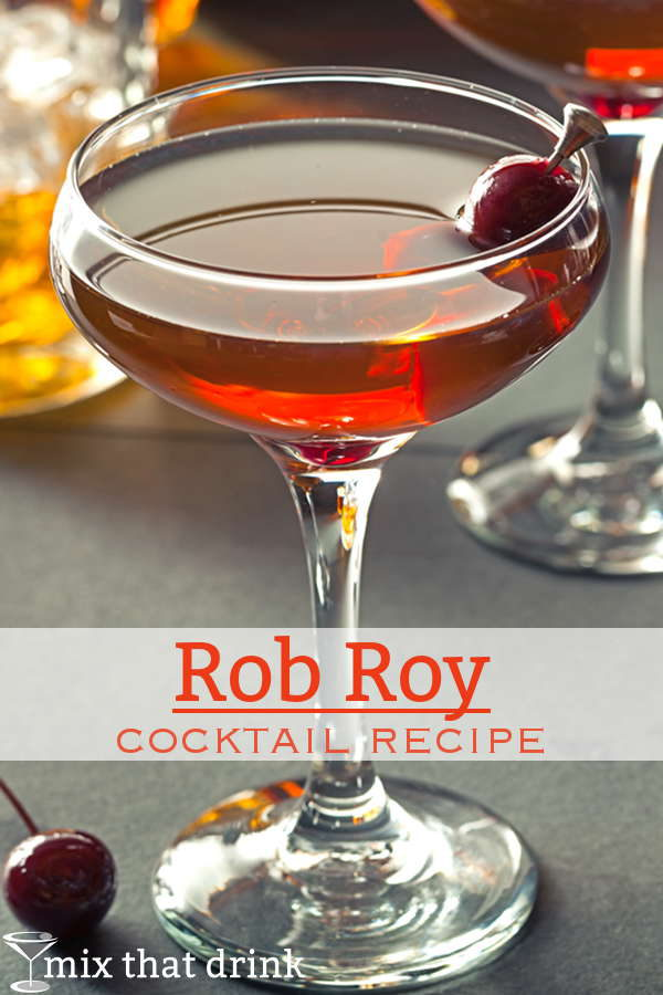The Rob Roy cocktail recipe features scotch, sweet vermouth, and Angostura bitters. It's very similar to the Manhattan, but with its own distinct flavor. #drink #recipes