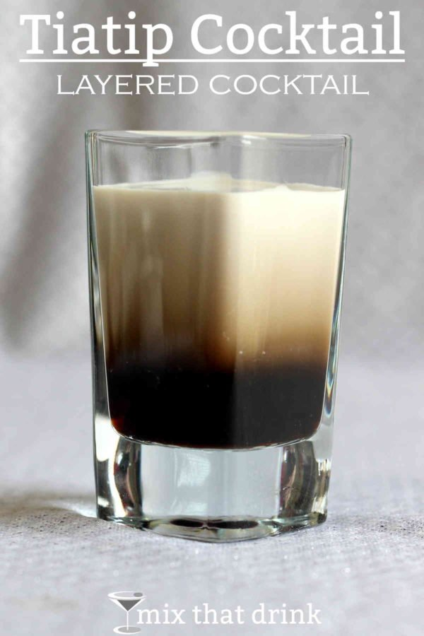 The Tiatip is a layered cocktail with just two ingredients: Tia Maria and Baileys, in equal parts. This is a sweet, rich, delicious cocktail recipe that tastes like coffee with Irish cream and sugar.