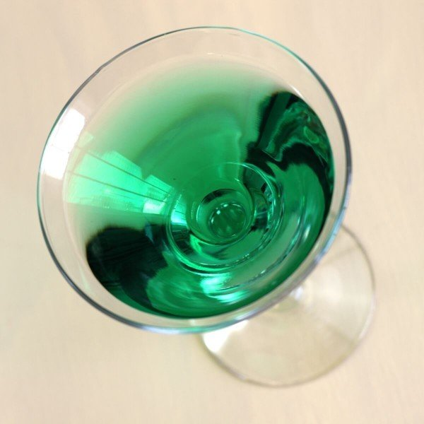 Overhead view of Emerald Isle Cocktail in martini glass