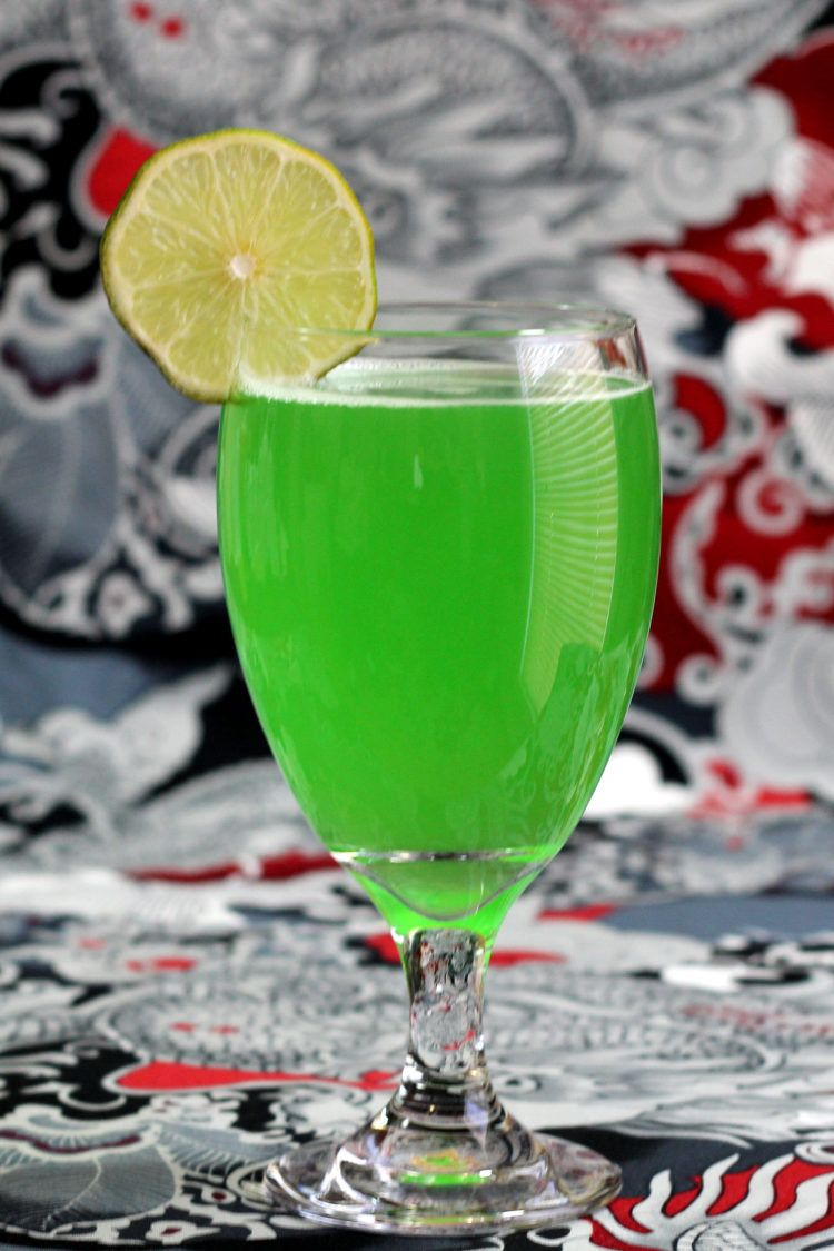 Side view of Green Demon drink