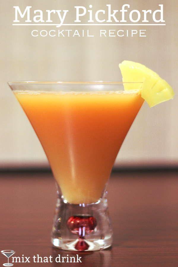 Mary Pickford cocktail recipe - Light Rum, Pineapple Juice, Grenadine, Maraschino Liqueur